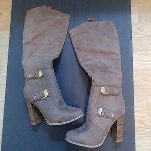 Wild Diva Lounge Emilia taupe tall boots 7